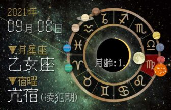 【2021年9月8日】今日の運勢「いいとこ取りで運勢アップ(星座占い・宿曜・西洋占星術・旧暦)」