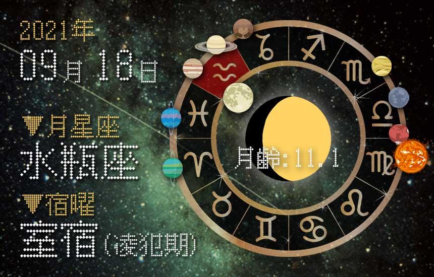 【2021年9月18日】今日の運勢「いいとこ取りで運勢アップ(星座占い・宿曜・西洋占星術・旧暦)」