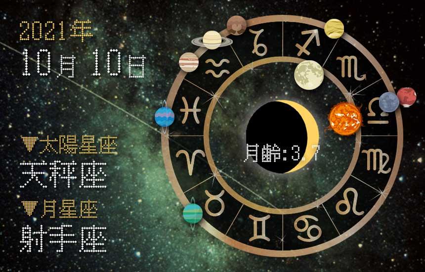 【2021年10月10日】今日の運勢「いいとこ取りで運勢アップ(星座占い・宿曜・西洋占星術・旧暦)」