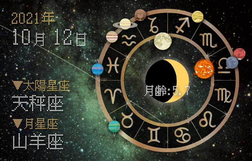 【2021年10月12日】今日の運勢「いいとこ取りで運勢アップ(星座占い・宿曜・西洋占星術・旧暦)」