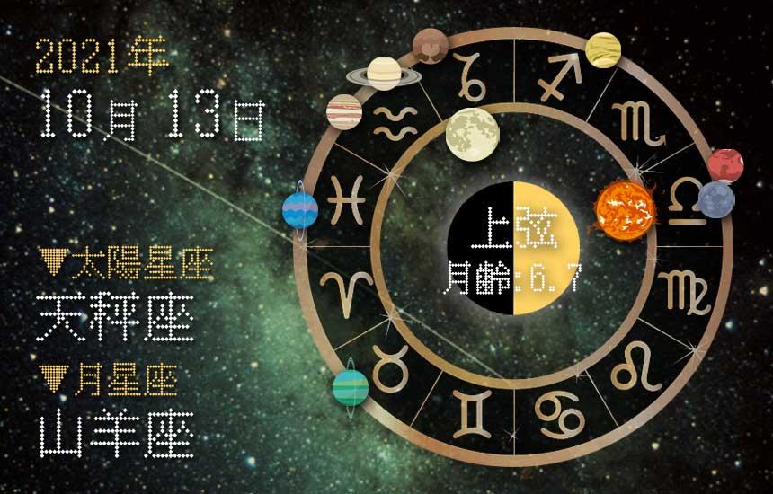 【2021年10月13日】今日の運勢「いいとこ取りで運勢アップ(星座占い・宿曜・西洋占星術・旧暦)」