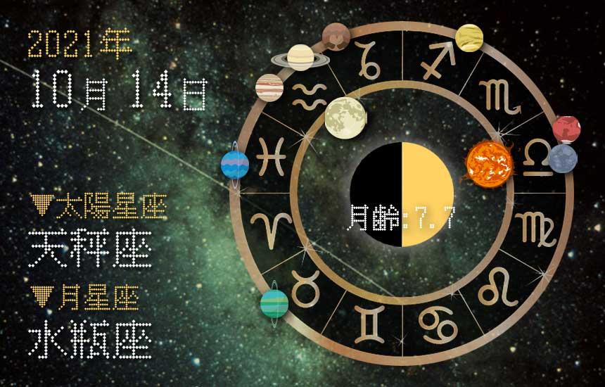 【2021年10月14日】今日の運勢「いいとこ取りで運勢アップ(星座占い・宿曜・西洋占星術・旧暦)」